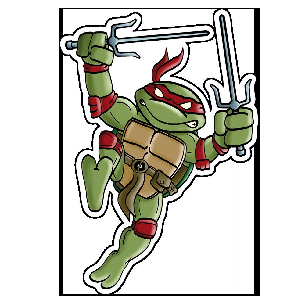 """""""Mutant Turtle"""" Vinyl Sticker Red Version"""