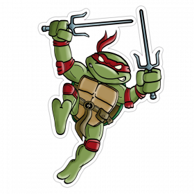 """Mutant Turtle"" Vinyl Sticker Red Version"