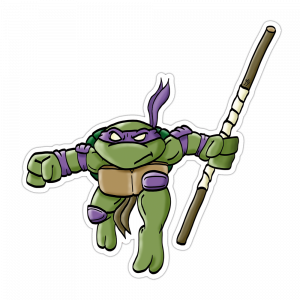 """Mutant Turtle"" Vinyl Sticker Violet Version"